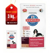 Hill's SP Canine Adult Advanced Fitness Lamb & Rice cu miel si orez 12kg + 3kg CADOU