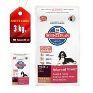 Hill's SP Canine Adult Advanced Fitness Lamb & Rice cu miel si orez 12kg + 3kg CADOU